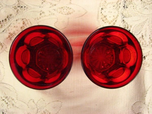 8013: FOSTORIA  COIN GLASS RED TUMBLERS PAIR - 2