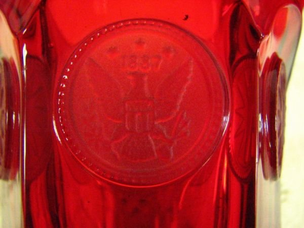 8013: FOSTORIA  COIN GLASS RED TUMBLERS PAIR - 5