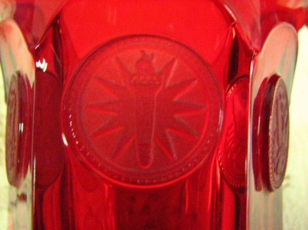 8013: FOSTORIA  COIN GLASS RED TUMBLERS PAIR - 6