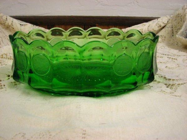 8019: FOSTORIA GREEN  COIN GLASS OVAL  BOWL