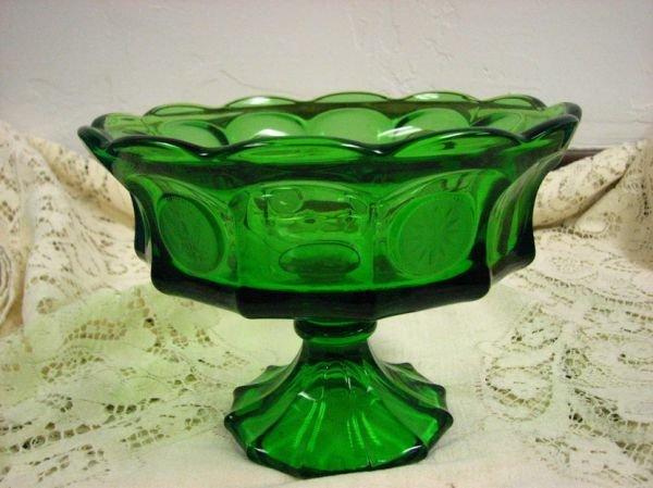 8024: FOSTORIA COIN GLASS GREEN COMPOTE PEDISTAL BOWL