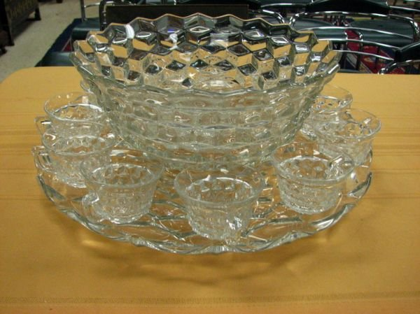 8266: AMERICAN FOSTORIA PUNCH BOWL AND CUPS