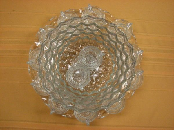 8266: AMERICAN FOSTORIA PUNCH BOWL AND CUPS   - 2