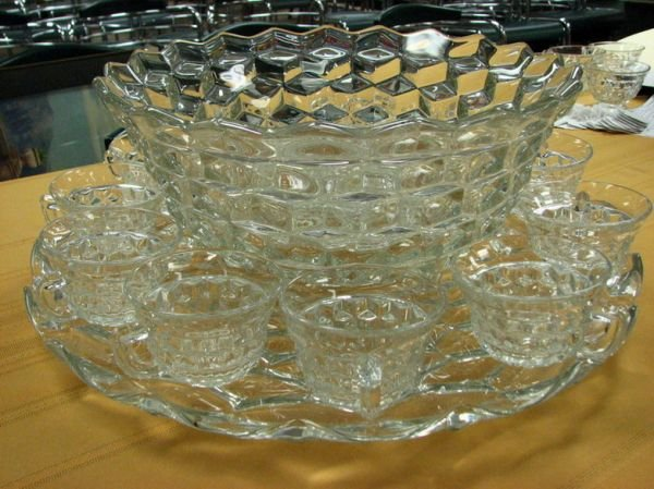 8266: AMERICAN FOSTORIA PUNCH BOWL AND CUPS   - 3