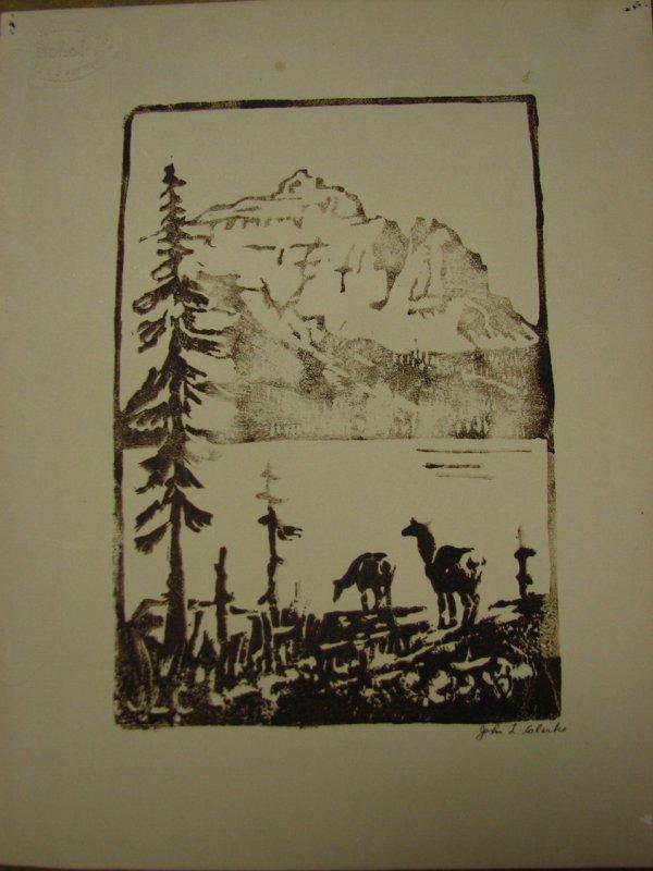 112: JOHN L. CLARKE Linoleum Print