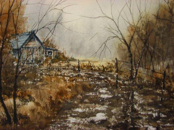 116: MARJORIE MATTHEWS BARNES WATERCOLOR LANDSCAPE