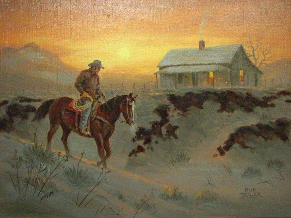 146: BOB TAYLOR OIL PAINTING COWBOY