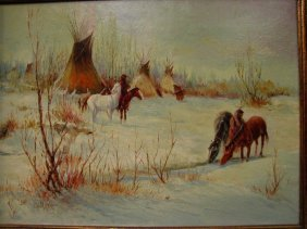 TED LONG OIL PAINTING TEEPEES WINTER SCENE