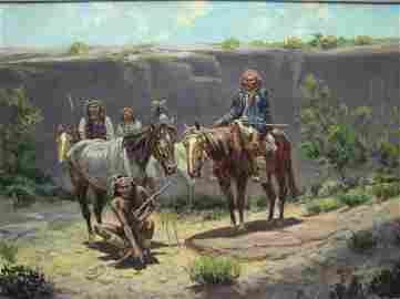 156: JOE BEELER OIL ON CANVAS THE WAR PARTY