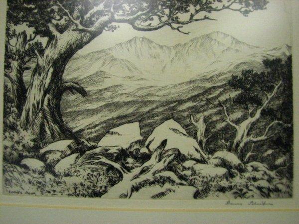 121: HAN KLEIBER ETCHING Long's Peak