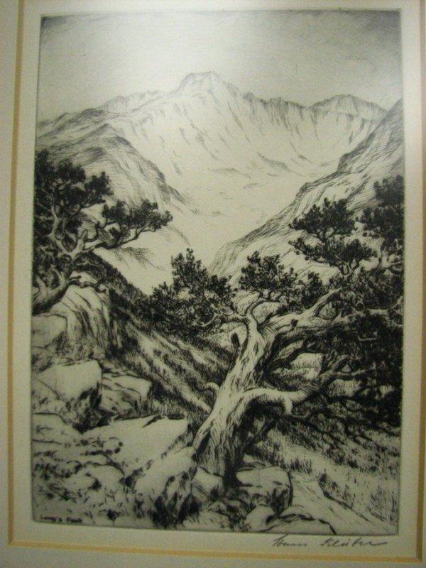 122: HAN KLEIBER ETCHING Long's Peak