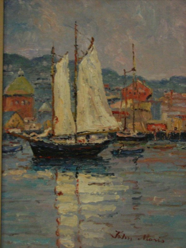 164: JOHN MORIS Harbor Scene Painting