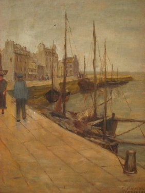 LOUISE GERTRUDE MORRISON Dockside Painting Cherbou