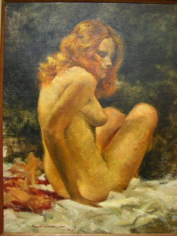 168: JOHN M GALVAN Nude Painting Oil