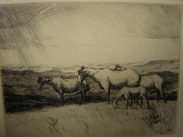 104: HANS KLEIBER Etching Horses on Mesa