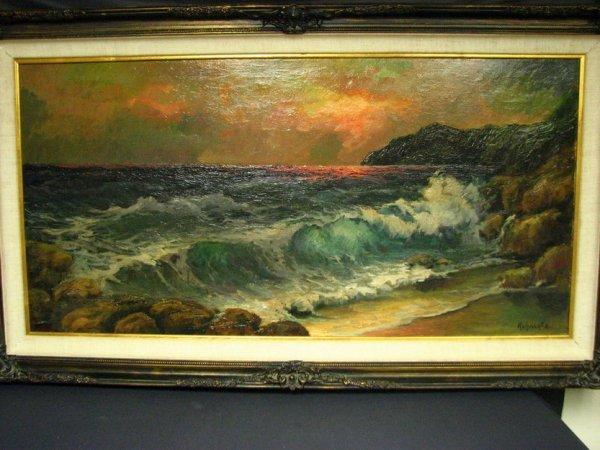 173: MANFRED KUHNERT Seascape Oil Painting
