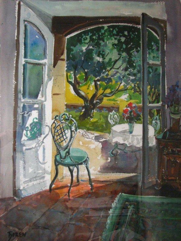 175: EVELYNE BOREN Watercolor Santa Fe Artist