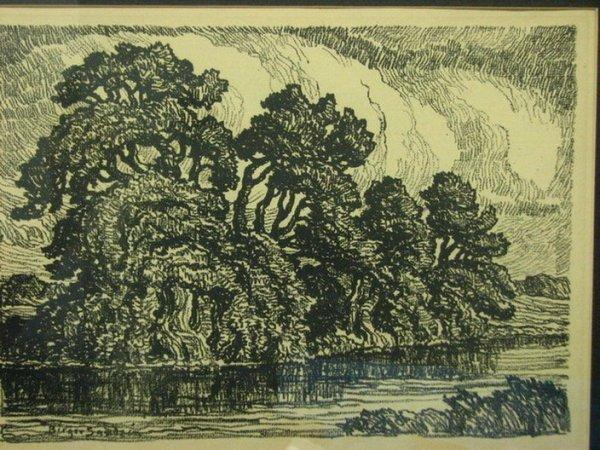 176: BIRGER SANDZEN Lithograph Landscape Trees