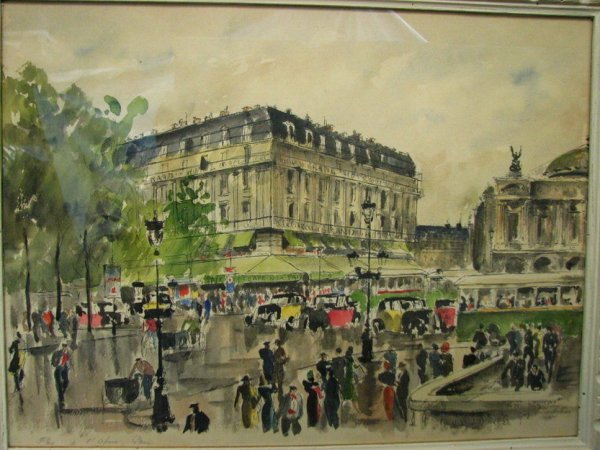 178: GUY DE NEYRAC Paris Street Scene Watercolor