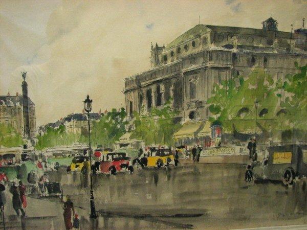 179: GUY DE NEYRAC Paris Street Scene Watercolor