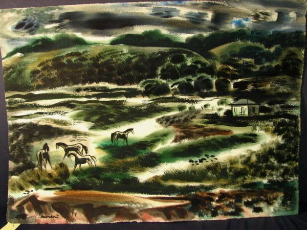 237: J JAY McVICKER WATERCOLOR pastoral view 2
