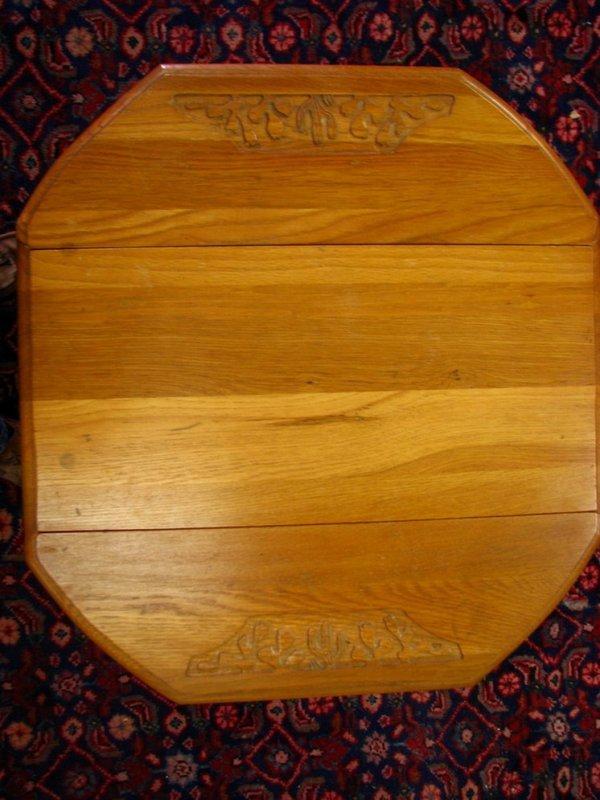 120A: Ranch Oak Cactus Carved Drop Leaf Table
