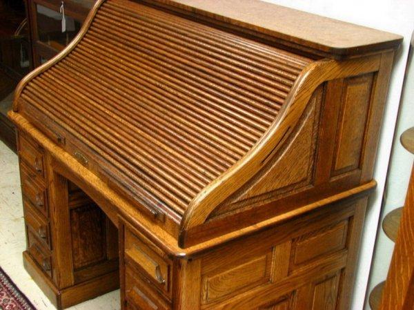 165A: Vintage Oak Roll top Desk