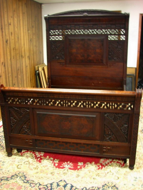 180A: Two-piece Carved Victorian Walnut Bedroom Set