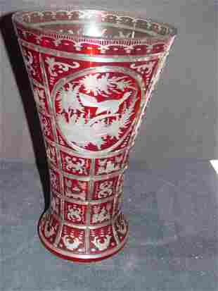 BOHEMIAN RUBY VASE CUT TO CLEAR