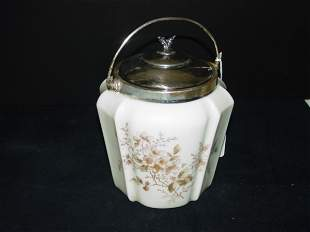 WAVECREST BISQUIT JAR WITH SILVERPLATE BAIL