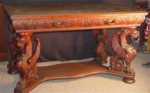 145: WINGED GRIFFIN PARTNERS DESK, HORNER, Mahogany wit