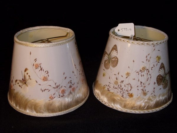 412: Pair VAN BRIGGLE butterfly lamp. SHADES ONLY