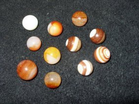 9 OLD MARBLES SOME AGATES