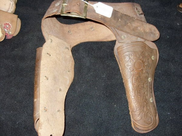 486: Old Tooled leather Holster and belt.