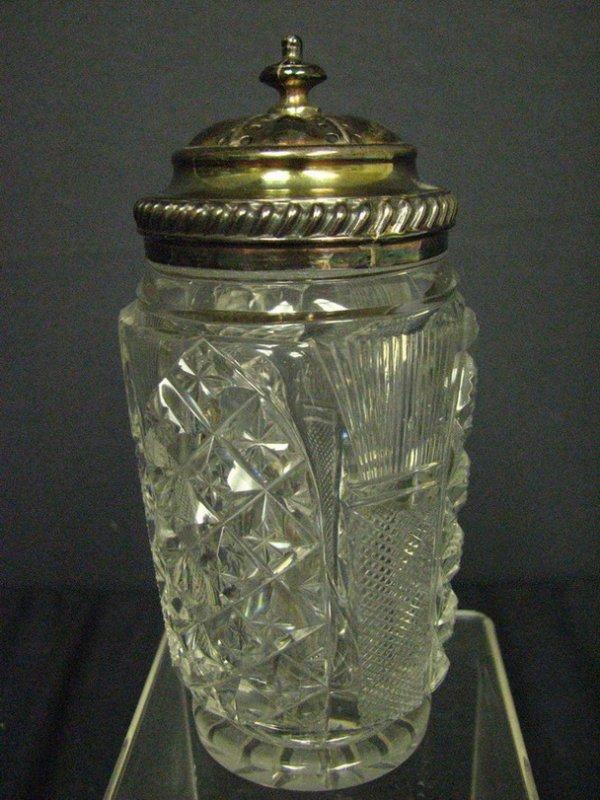754: ANTIQUE CUT GLASS SUGAR SHAKER MUFFINEER