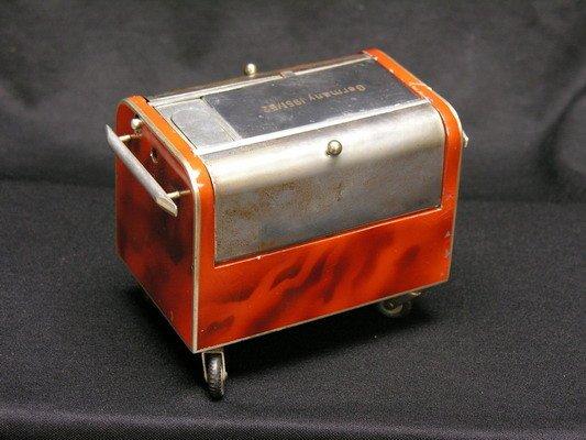 390: GERMAN BAGGAGE CART CIGARETTE DISPENSOR, LIGHTER &
