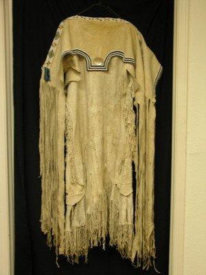 524: NATIVE AMERICAN POW-WOW DEER SKIN DRESS WITH SHAW,