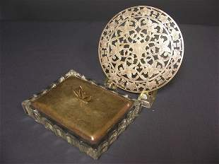 STERLING AND GLASS CIGARETTE BOX AND TRIVET