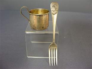 STERLING ETCHED JUVENILE FORK AND STERLING CUP