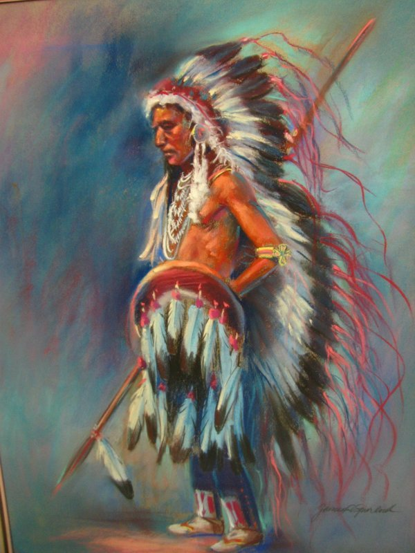 4: JAMES SPURLOCK PASTEL PAINTING Native American Chief