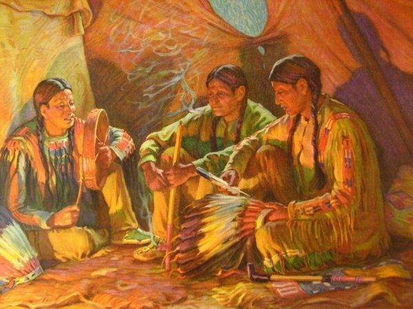 17: VINTAGE PRINT American Indians  J H Shaon