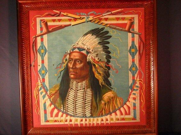 23: INDIAN CHIEF SILK SCARF FRAMED