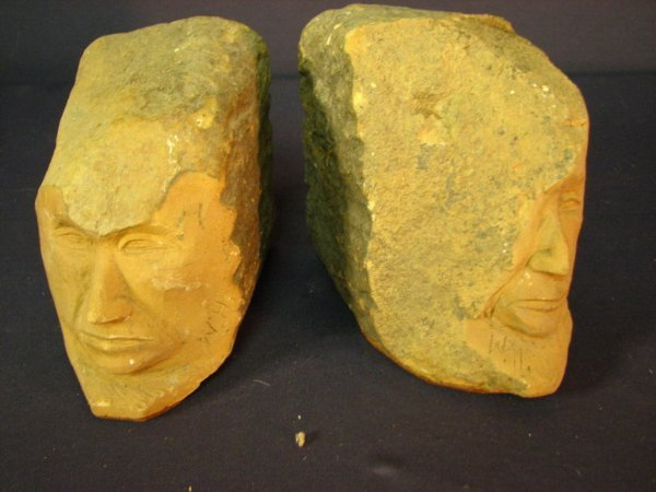 27: CARVED SANDSTONE BOOKENDS
