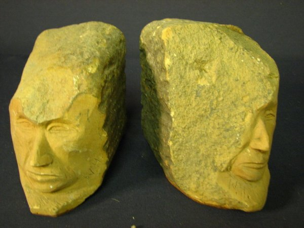 27: CARVED SANDSTONE BOOKENDS - 2