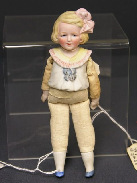 804: 6 1/2 inch BISQUE 1/2 DOLL GERMANY