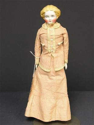 14 inch FLAT TOP CHINA DOLL 1860-70s