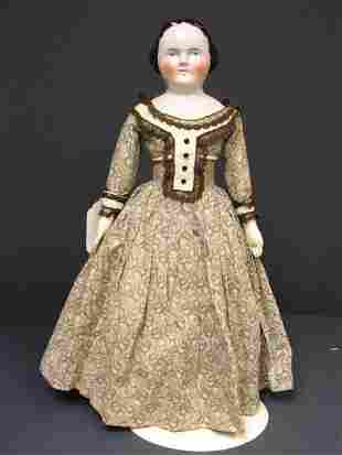 21 1/2 INCH FLAT TOP CHINA DOLL 1860-70s