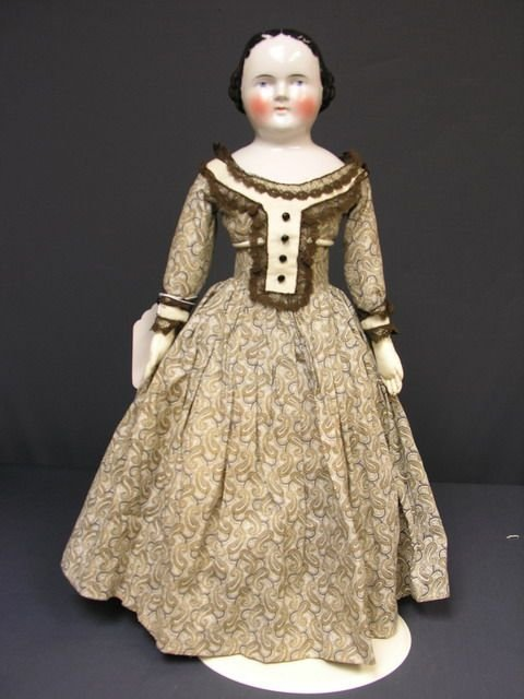 823: 21 1/2 INCH FLAT TOP CHINA DOLL 1860-70s