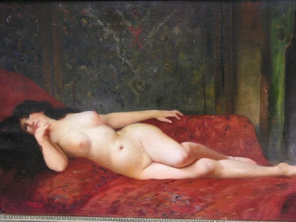 163: NUDE OIL ON CANVAS OLD MASTERS STYLE PAINTING