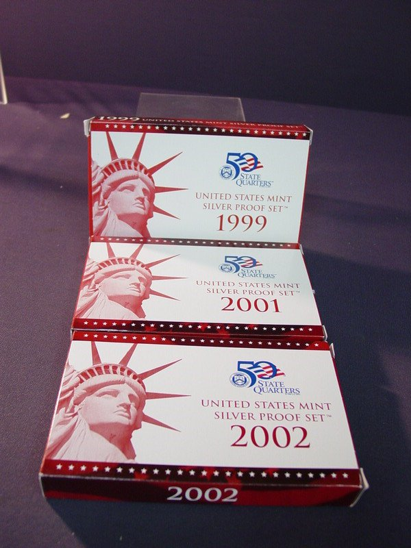 432: 1999 2001 2002 U.S. SILVER PROOF SETS